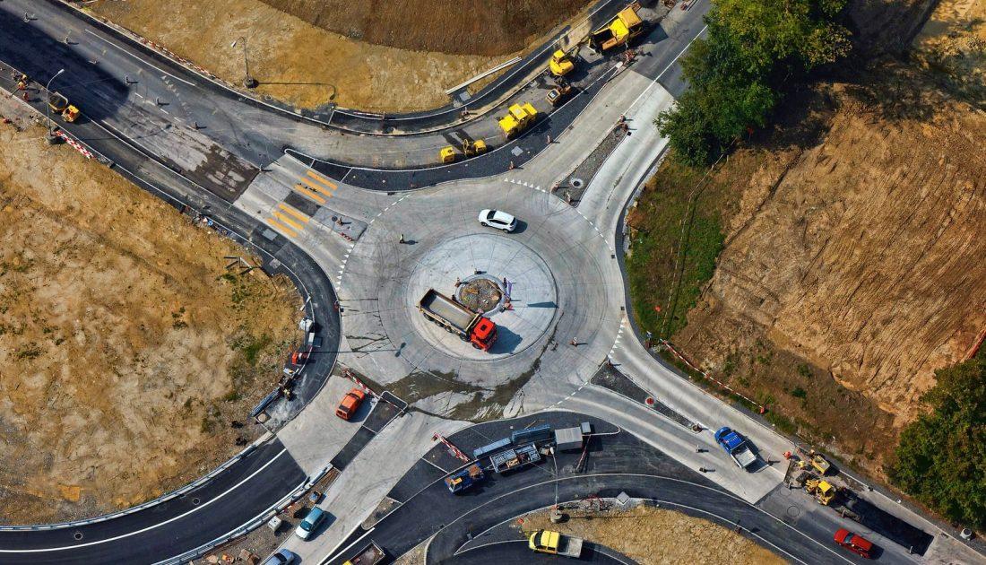 Construction road ariel